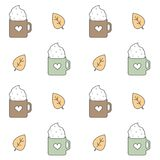 Cute lovely cartoon seamless vector pattern background illustration with leaves, cozy cups with heart and whipped cream. Cute lovely cartoon seamless pattern Stock Photo