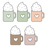 Cute lovely cartoon vector set of cozy cups with heart and whipped cream. Cute lovely cartoon set of cozy cups with heart and whipped cream Stock Photo