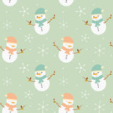 Cute lovely cartoon snowman seamless pattern background illustration Royalty Free Stock Photos