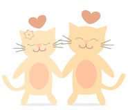 Cute lovely cats in love cartoon romantic illustration Stock Images