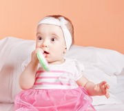 Cute and lovely child plays a toy one year. Stock Photos