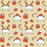 Cute lovely christmas seamless vector pattern background illustration with cats with antlers and santa`s hats, gift box, candy can vector illustration