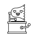 Cute lovely kawaii gramophone cartoon Stock Photos