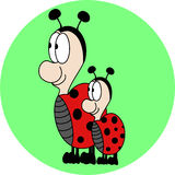 Cute Lovely Ladybugs cartoon Stock Photo