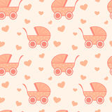 Cute and lovely pink baby background seamless pattern cartoon illustration Royalty Free Stock Photos