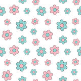 Cute lovely pink and blue cartoon daisy flowers seamless background illustration Royalty Free Stock Images
