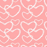 Cute lovely pink and white sketch hearts seamless pattern background illustration Stock Photos