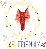 Cute, lovely, pretty and simple animal faces sketch, fox and hens. Doodle style icons for kids, perfect for cards and invitations,. Textile, wallpapers stock illustration