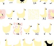 Cute, lovely, pretty and simple animal faces sketch, fox and hens. Doodle style icons for kids, perfect for cards and invitations,. Textile, wallpapers vector illustration