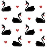 Cute lovely princess black swan on white background seamless vector pattern illustration. Cute lovely princess black swan on white background seamless pattern Stock Photo