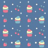 Cute lovely rainbow colorful cupcake seamless vector pattern background illustration Royalty Free Stock Photography