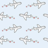 Cute lovely and romantic airplane with hearts in the sky seamless pattern background illustration Royalty Free Stock Photo
