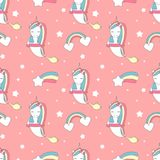 Cute lovely seamless vector pattern background illustration with genie unicorn, rainbow and comet. Cute lovely seamless pattern background illustration with stock illustration