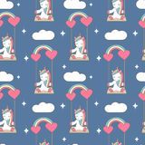 Cute lovely seamless vector pattern background illustration with unicorn sitting on a rainbow swing Royalty Free Stock Photos