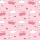 Cute lovely seamless vector pattern background illustration with sleeping mask, clouds, stars and moon Stock Image
