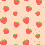 Cute lovely strawberry seamless pattern background illustration Stock Image