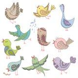 Cute Lovely tribal Bird Singing Summer Endless Vector Illustration Royalty Free Stock Image
