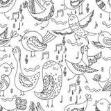 Cute Lovely tribal Bird Singing Summer Seamless Endless Vector Illustration Stock Photography