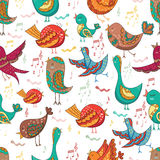 Cute Lovely tribal Bird Singing Summer Seamless Endless Vector Illustration Royalty Free Stock Photo