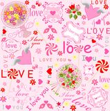 Cute lovely wallpaper with hearts, candy, frames, bouquets and wishes Stock Photos