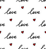 Cute Lovely White Texture With Red Hearts and Words Stock Images