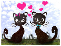 Cute lover cats sitting with hearts on grass Royalty Free Stock Images