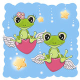 Cute Lovers Frogs. Valentine card Lovers Frogs are flying on the hearts Royalty Free Stock Images