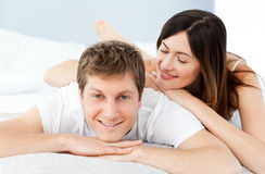 Cute lovers looking at the camera Stock Photography