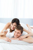 Cute lovers looking at the camera Royalty Free Stock Images