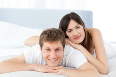 Cute lovers looking at the camera Royalty Free Stock Photo