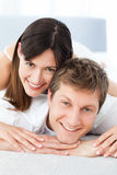 Cute lovers looking at the camera Royalty Free Stock Photos