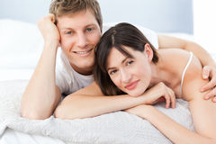 Cute lovers looking at the camera Stock Photos
