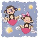 Cute Lovers Monkeys stock illustration