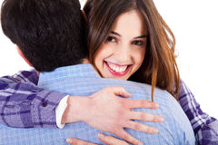 Cute lovers women hugging Stock Image