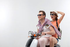 Cute loving couple is making their travel Stock Image