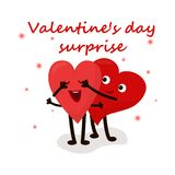 Cute hearts couple surprise for valentine`s day. Cute loving hearts couple surprise for valentine`s day. Vector EPS 10 illustration stock illustration