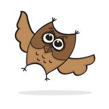 Cute Lttle Cartoon Owl Stock Images