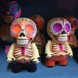 Cute Luchador Style Mexican Skeleton Figurines stock photos