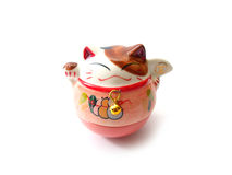 Cute lucky cat. Isolated on white background Stock Photo