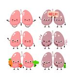 Cute lungs set. Healthy and unhealthy human organ. Vector modern style cartoon character illustration icon design. Bad habits,nutrition,lungs concept royalty free illustration