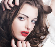 Cute luxurious young female - chic lips and eyes Stock Photography
