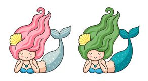 Cute lying dreamy mermaids with long hair. royalty free illustration