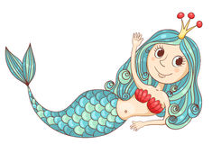 Cute lying mermaid Stock Photo