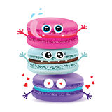 Cute macaroon doodles. Vector food illustration Stock Photos