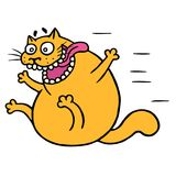 Cute mad cat flies with joy. Vector illustration stock image