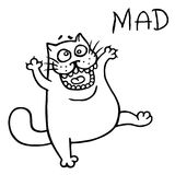 Cute mad cat. Vector illustration royalty free stock photos