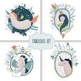 Cute magic collection with princess, unicorn, rainbow, dragon. Fairy wings. Dream Spring illustration. Vector isolated illustration on white Royalty Free Stock Image