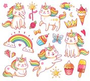 Magic unicorn cats in crown, sweet cupcakes, ice cream, rainbow and clouds. Cartoon fairy smiling cat, kitty with color