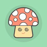 Cute magic mushroom with spiral eyes Royalty Free Stock Photo