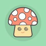 Cute magic mushroom with spiral eyes Royalty Free Stock Photo